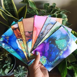 Alcohol Ink Cards Iowa Artist