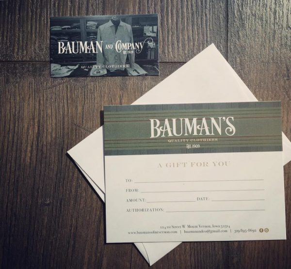 Bauman's of Mount Vernon Iowa Gift Card - Shop Iowa - shopiowa.com - Marketplace website for Iowa's Brick & Mortar Retailers