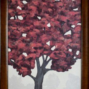 Red Tree Artwork Framed