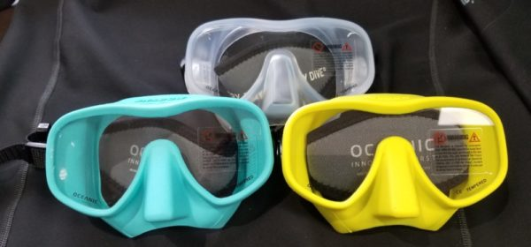 Oceanic Shadow Scuba Mask in Turquoise Yellow and Clear