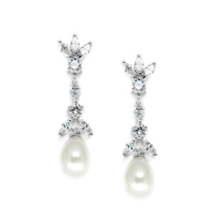 Freshwater Pearl & Cubic Zirconia Tulip Earrings