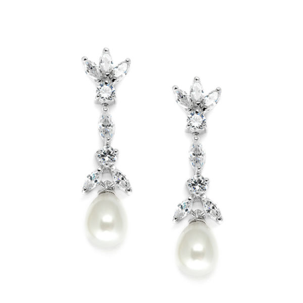 Freshwater Pearl & Cubic Zirconia Tulip Earrings