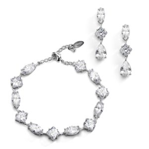 Elegant Cubic Zirconia Multi-Shape Bridal Bracelet and Earrings Set in Rhodium