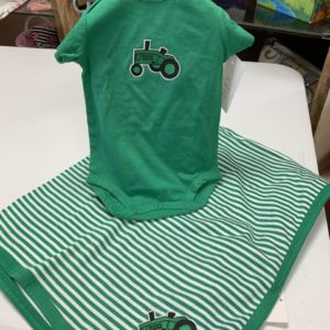 Photo of Farm Tractor Baby Onesie & Coordinating Blanket (3-6 mo) on shopiowa.com