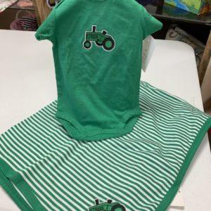 Farm Tractor Baby Onesie & Coordinating Blanket (3-6 mo)
