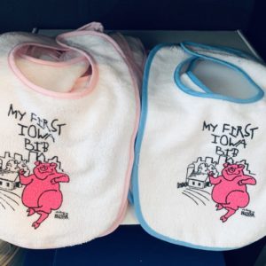 Iowa Baby Bib Pink or Blue with a Pig