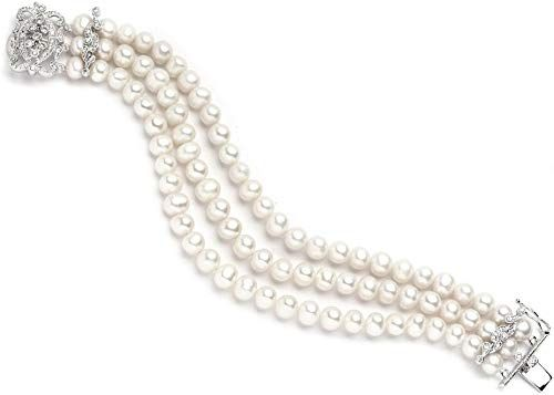 3-Row Freshwater Pearl Bridal Bracelet with Vintage CZ Clasp