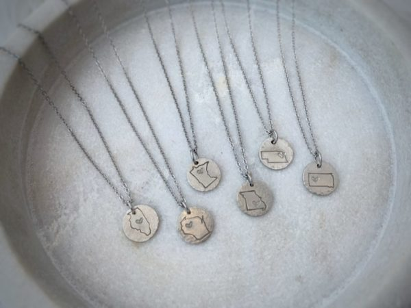 CUSTOM State Necklace with Heart