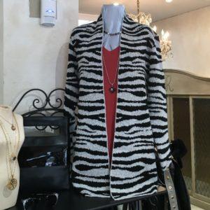 Animal print cardigan sweater