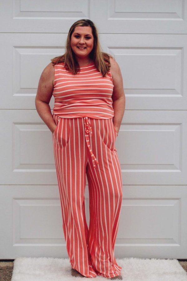 Coral & Ivory Striped Jumpsuit