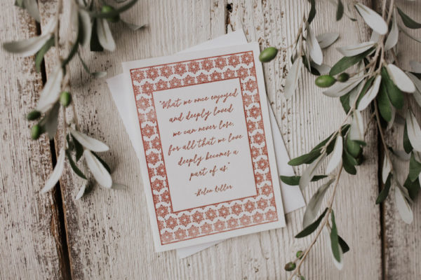 """Deeply Loved"" Memorial Letterpress Greeting Card"