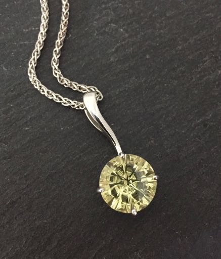 Lemon Quartz Pendant in Sterling Silver