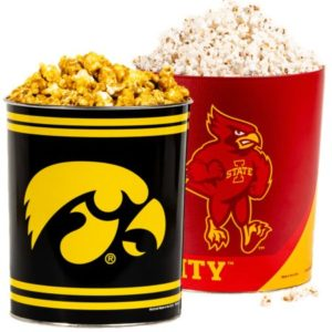 Iowa Hawkeyes/ Iowa State Cyclones Popcorn Tin- 3 1/2 Gallons!