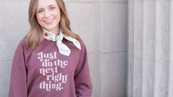 """""""Just Do The Next Right Thing"""" Unisex Terry Crew Sweatshirt"""