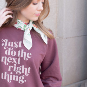 """Just Do The Next Right Thing"" Unisex Terry Crew Sweatshirt"