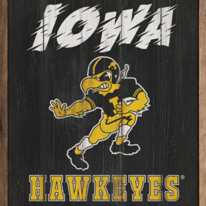 Iowa Hawkeyes Throwback - Kendrick Home Wood Sign on Shopiowa.com