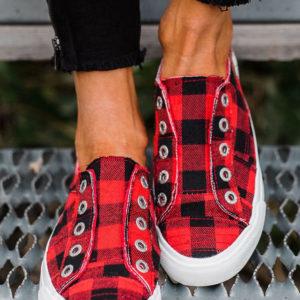 Red Plaid Tennis Shoe