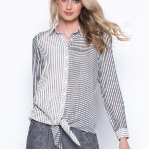 Grey Tie-Front Shirt