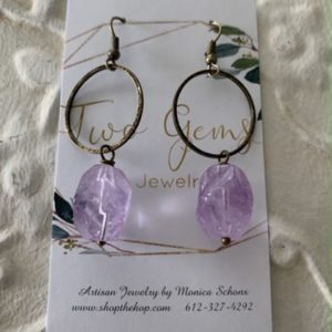 Antique Brass Amethyst Earrings by Two Gems Jewelry