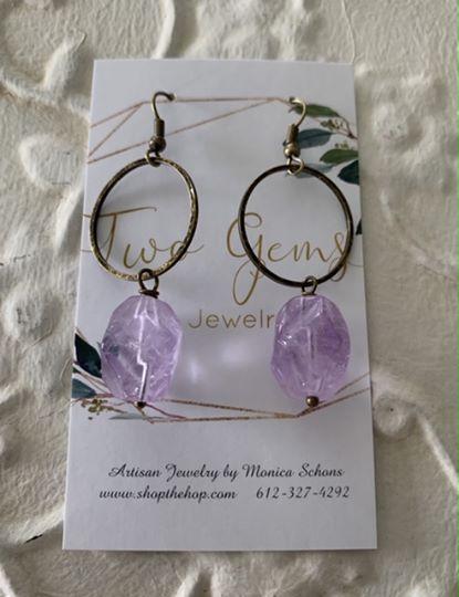 Antique Brass Amethyst Earrings by Two Gems Jewelry
