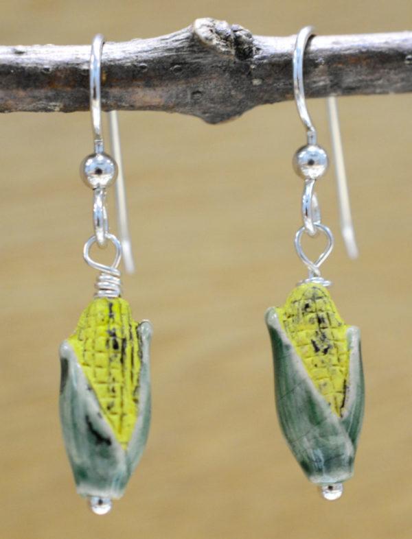 handmade ceramic corn and sterling silver earrings