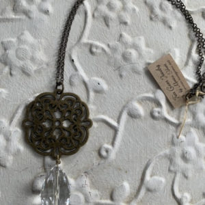 Antique Brass Necklace with Quartz Pendant by Two Gems Jewelry