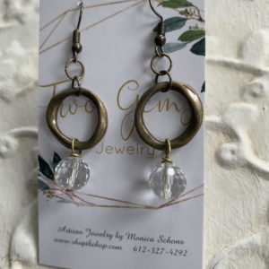Antique Brass Quartz Earrings by Two Gems Jewelry