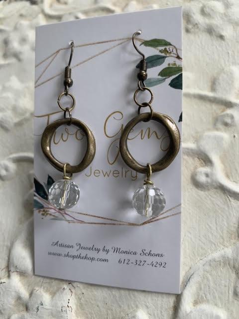 Antique Brass Quartz Earrings by Two Gems Jewelry