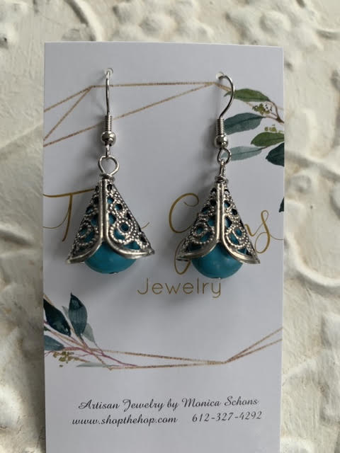 Antique Silver Turquoise Earrings by Two Gems Jewelry