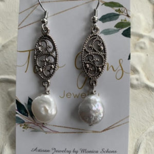 Antique Silver Freshwater Pearl Earrings by Two Gems