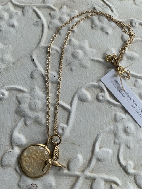 Gold Hummingbird Charm Necklace by Two Gems Jewelry