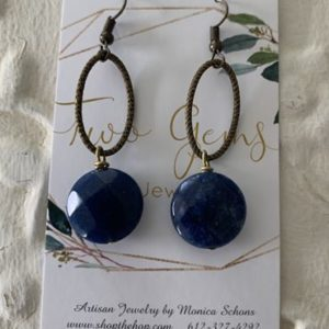 Antique Brass Lapis Earrings by Two Gems Jewelry