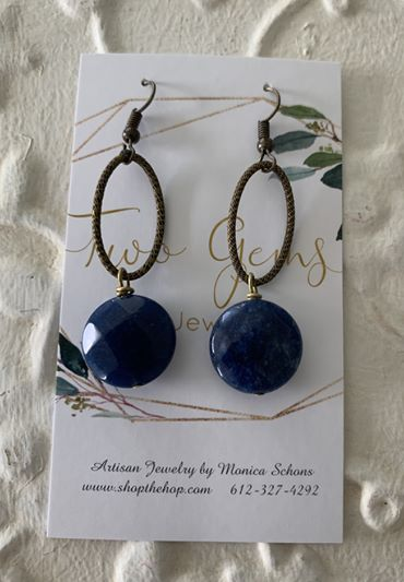 Antique Brass Lapis Earrings by Two Gems Jewelry
