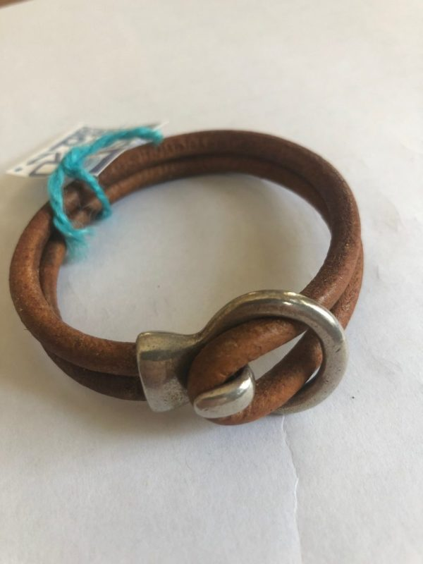 Photo of Tan Leather bracelet by Lori Kidd from DKW Art Gallery on shopiowa.com