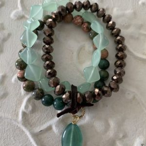 Triple Natural Stone Stretch Bracelet by Two Gems Jewelry