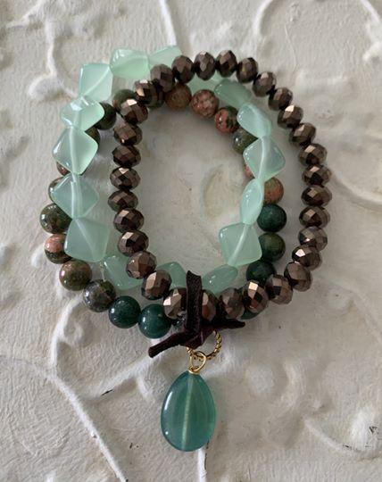 Triple Natural Stone Stretch Bracelet by Two Gems Jewelry