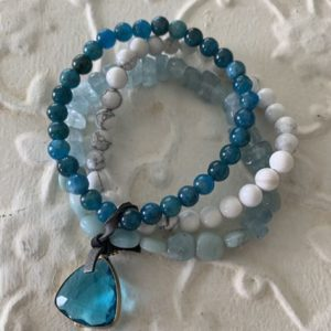 Triple Natural Stone Bracelet by Two Gems Jewelry