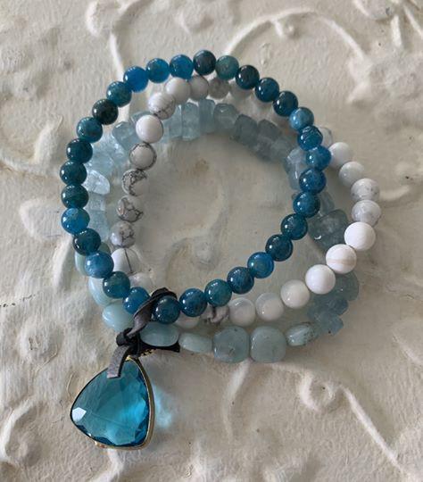 Triple Natural Stone Bracelet by Two Gems Jewelry