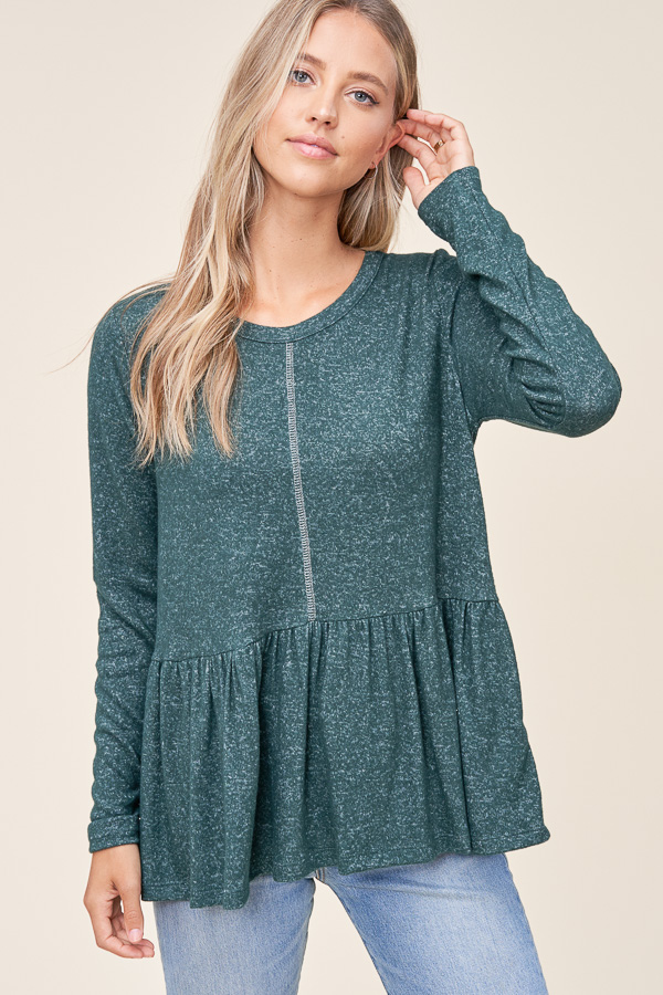 Long sleeve hacci brushed top