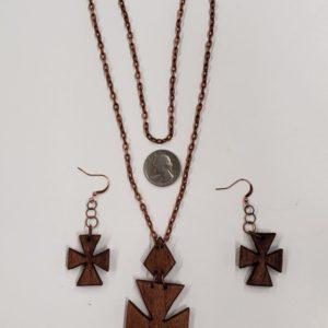 Walnut Cross Necklace & Earring Set