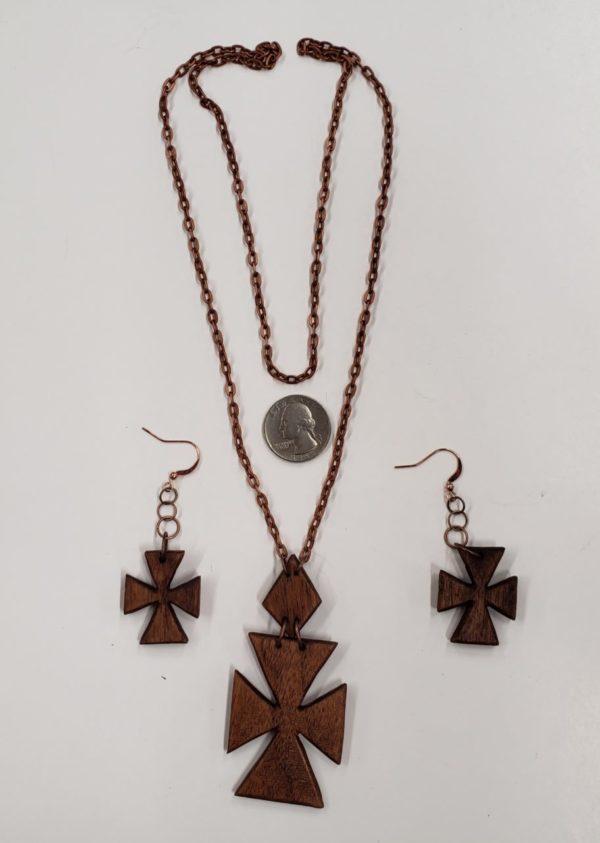 photo of Walnut Cross Necklace & Earring Set on shopiowa.com