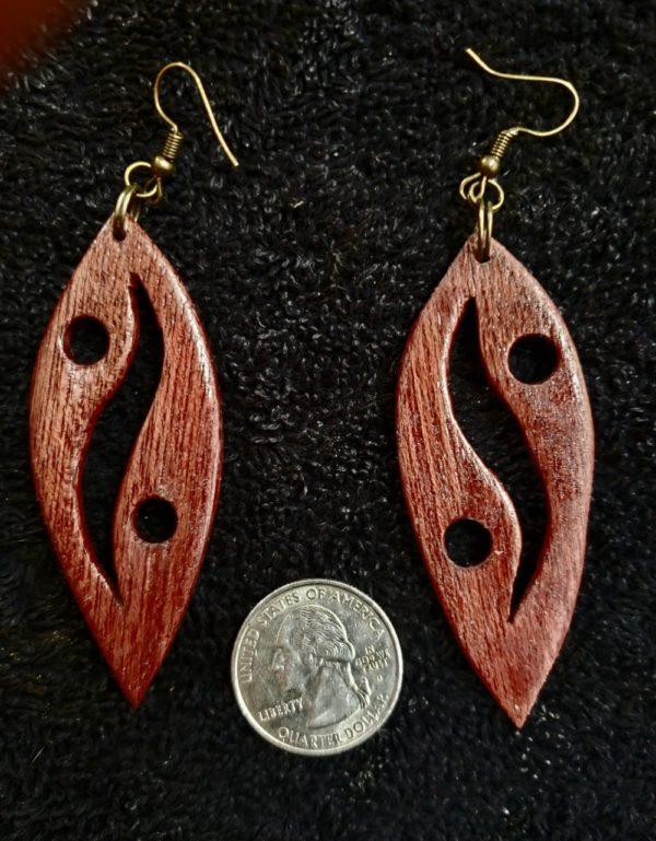 Wooden Red Heart Earrings #1