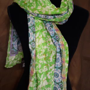photo of India inspired multi-colored lime green, teal, lavender and creme women's neck scarf on shopiowa.com