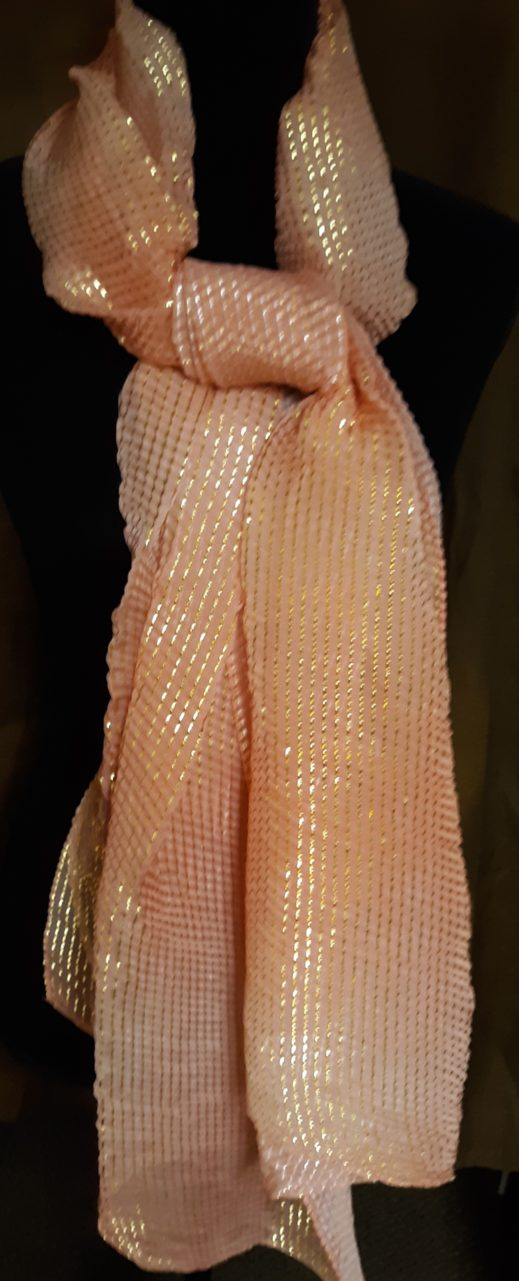 photo of Women's neck scarf - Sheer Blush with Gold on shopiowa.com