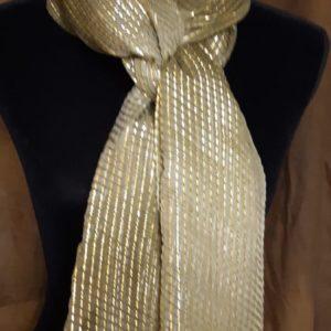 Women's Neck Scarf - Sheer Green & Metallic Gold
