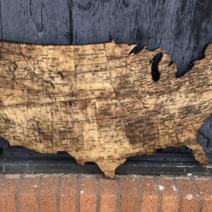 USA Map on Pine