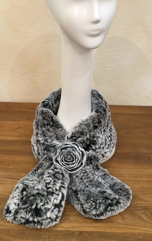 Knitted Rex rabbit pull through rosette Ascot scarf