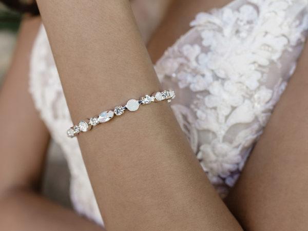 Opal Stone Earrings & Bracelet Set in Silver