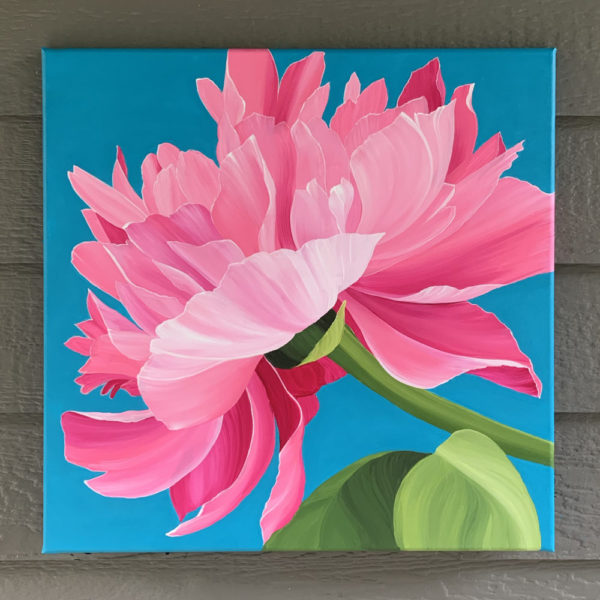 Garden Peony, Acrylic Painting on Canvas by Jenna Brownlee