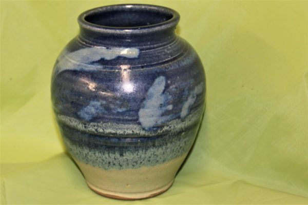 Blue Vocered Jar Pottery by Henry Serenco